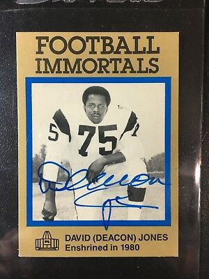 Deacon Jones Signed Football Immortals Auto Canton HOF