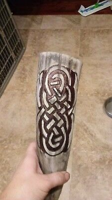 Hand carved drinking horn