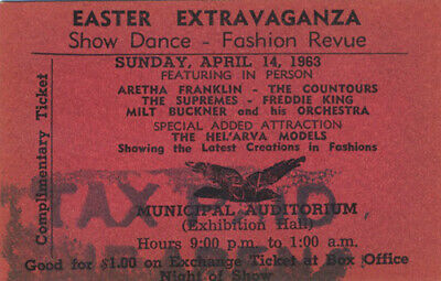 The SUPREMES 1963 Unused Concert Ticket Aretha Franklin