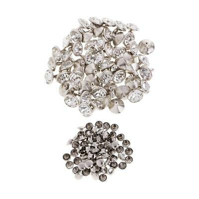 50x Rhinestone Rivets Stud Button for Clothes Bracelet Bag Craft 10mm Silver