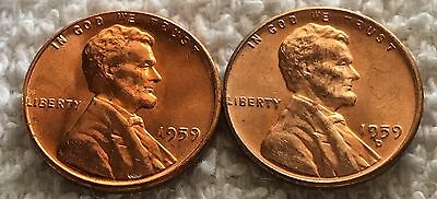 1959 P and D lincoln cent 1 coin each from obw roll wow look