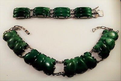 Eisenberg Original Necklace Bracelet Sterling Silver made in Mexico Green Onyx