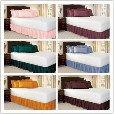 Single Queen and King Size Easy Fit Wrap Around Elastic Soft BED RUFFLE SKIRT