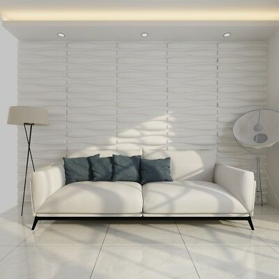12 Pcs 3D Wave Design Wall Panels Bamboo Fiber Wallpaper 6 m² White Home Decor
