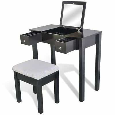 Black 2 Drawer Dressing Table Jewellery Cabinet Storage Mirror Stool Makeup Set