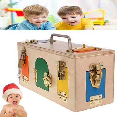 Wooden Montessori Practical Material Little Lock Box Kids Educational Toy Gift