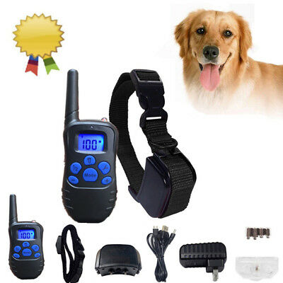 Rechargeable Waterproof LCD 100LV Remote 300 Yard Pet Dog Training Shock Collar