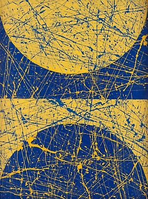 Jackson Pollock oil painting on canvas abstract art wall decor blue yellow