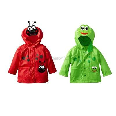 AU Cute Baby Kids Anti-wind & Rain-proof Hooded Coat Long Sleeve Shape Raincoat