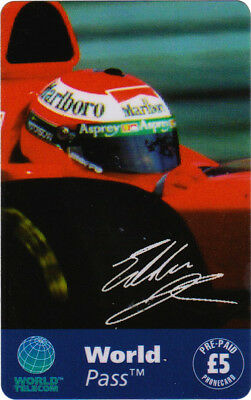 Eddie Irvine Phone Card, showing Eddie in the Ferrari