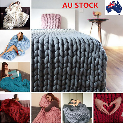 Soft Warm Hand Chunky Knitted Sofa Bed Blanket Thick Yarn Bulky Throw 100*80cm