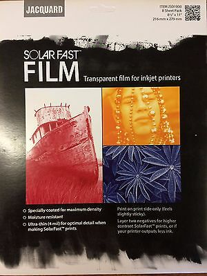 Jacquard Solarfast Dye Film 8.5 X 11  ~   8 Sheet package    ~   Free shipping !