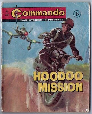 """Dated 1968. Vintage COMMANDO War Picture Comic # 350. """"Hoodoo Mission"""""""