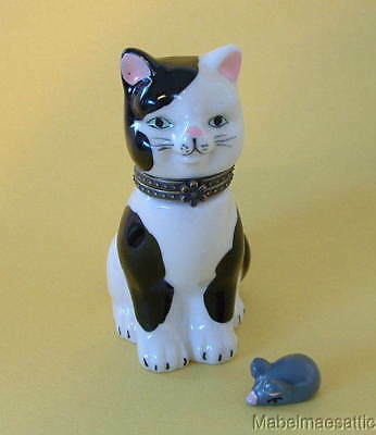 New  Handpainted Black & White Spotted Cat Kitten Porcelain Hinged Trinket Box
