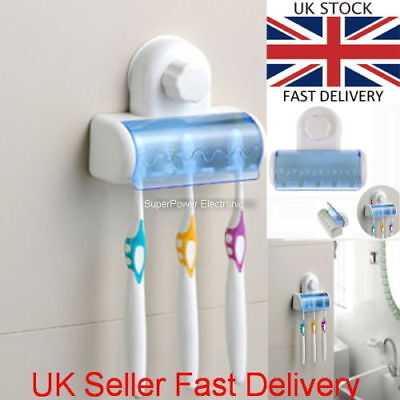 New Bathroom Wall Mount 5 Toothbrush Spin brush Suction Holder Stand Rack