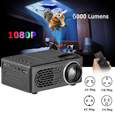 6000 Lumens Multimedia 1080p HD Video HDMI USB LED WIFI Home Cinema Projector