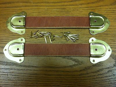 "Antique Trunk Hardware-Two 9"" Leather Handles, 4 Metal ends & fasteners-F"