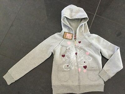 NWT Juicy Couture New & Gen. Girls Age 8 Grey Cotton Hoody With Metallic Logo
