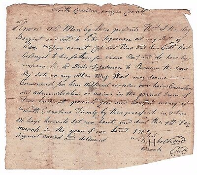 3 Slave Bill of Sale - Orange Co, North Carolina, Home of UNC Chapel Hill - 1789
