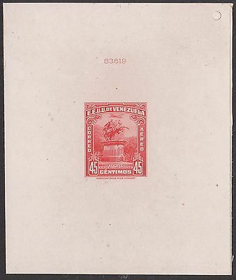 VENEZUELA 1947 NUMBERED DIE PROOF affixed to THICK CARD IMPERF STAMP of Sc#C247
