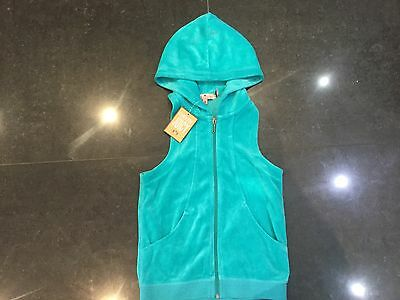 NWT Juicy Couture New & Genuine Girls Age 8 Turquoise Velour Sleeveless Hoody