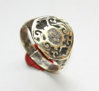 Ancient Bronze Finger Pseudo-Heraldry Seal Ring (FBR01)