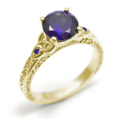 Trinity Knot 1.5ct Sapphire 4 Claw Ring 9ct Gold UK Hallmarked (SS287)