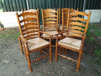 Brights of Nettlebed 8 Solid Oak Antique Style Dining Chairs ref45698