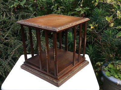 Antique Wooden Tabletop Revolving Book Case Stand With Gilt Decoration