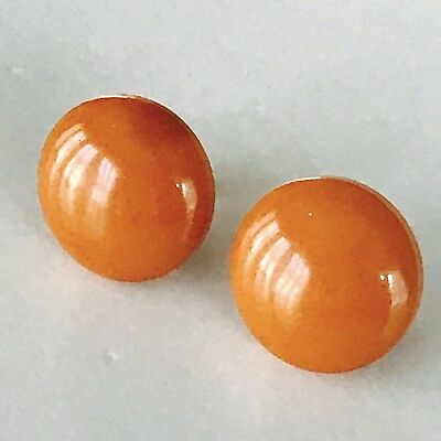 Vintage Art Deco Amber Butterscotch Bakelite Earrings - Simichrome Tested