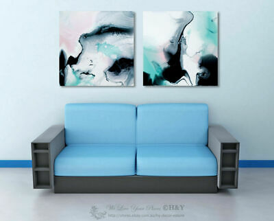 Set of 2 Abstract Stretched Canvas Print Framed Wall Art Hanging Black Blue Gift
