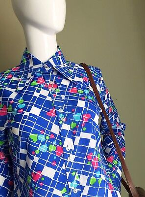 VINTAGE 60s 70s Cornflower BLUE Hearts Dagger COLLAR Ladies Shirt - Mod vtg - 14