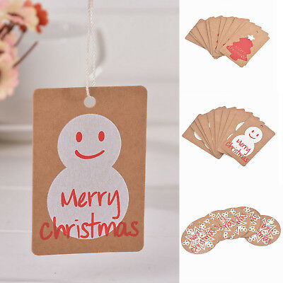 50PCS New Christmas Kraft Paper Gift Tags Scallop Label  Blank Party Gift Cards