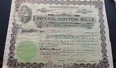 Royal Cotton Mills Wake Forest North Carolina 100 Dollar Stock 1913