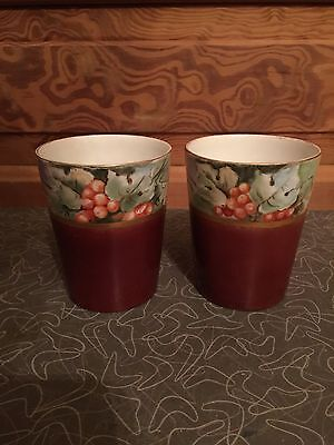 Antique Hand Painted China Tumbler Berry Design Set of 2