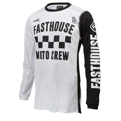 New Fasthouse Checkers White Air Cooled MX/Offroad Jersey Adult Sizes