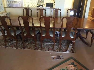 Amazing 10ft Long Baker Dining Table and 10 Chairs Twin Pedestal Inlaid Top.