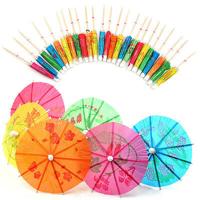 40x Paper Cocktail Parasols Umbrellas Party Wedding Supplies Luau Drink Stick TB