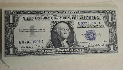 Fr. 1621 $1 1957 Silver Certificates, 100 Consecutive, 32 Star Notes within 100