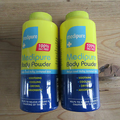 2 x Medipure - Medicated Body Powder- 100% Talc Free - Soothing,Cooling,2 x 200g