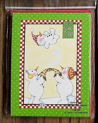 Mary Engelbreit Christmas Jump for Joy Snowman Note Cards Set of 8 NEW!