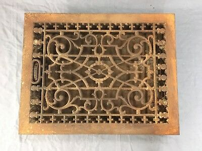 Antique Cast Iron Heat Grate Floor Vent Register Vtg Victorian Old 16x12 664-17E