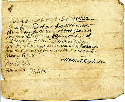 Rare 1722 Salem Massachusetts Receipt From Woman For Payment Of All Debts Owed