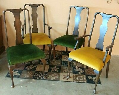 Set of 4 Dining Room Chairs Dark Stain From England Late 1890's English