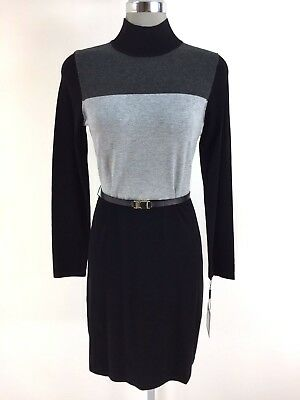 5db91c92f6 Calvin Klein NEW Elegant Striped Time Less High neck Sweater Dress size S M  L