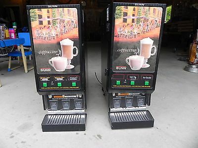 Two Bunn 120V Cappuccino Espresso Dispenser 3 Flavor Powdered Mix Machine