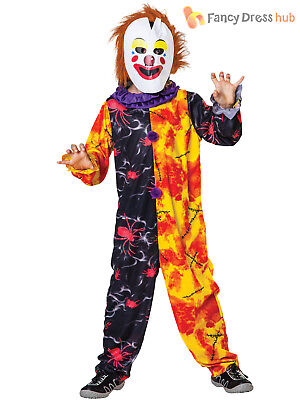 Boys Halloween Creepy Clown Costume Scary Circus Childs Fancy Dress Outfit