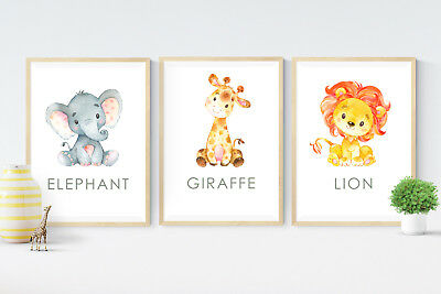 3 Baby Jungle Safari Animal Print Pictures- Gift - Nursery Wall Art Decor