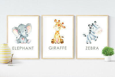 3 Baby Jungle Safari Animal Print Pictures- Gift -Nursery Wall Art Decor