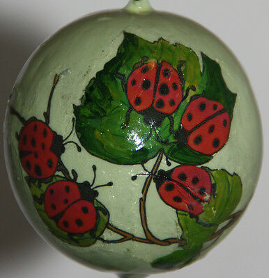 gourd Easter egg, garden or Christmas ornament with ladybugs